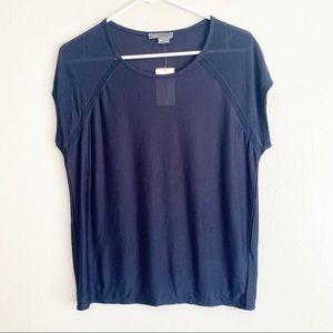 NWT VINCE Navy Blue Mesh Derail Short Sleeve Top